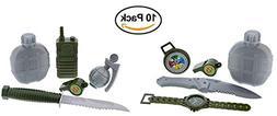 2 Army Military Pretend Playset. Toy Knife, Radio, Grenade.