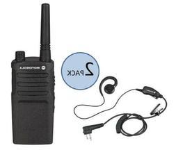 2 Motorola RMM2050 Two Way Radio Walkie Talkies with PTT Hea