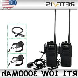 2×Retevis RT1 Walkie Talkies 10W 3000MAh 16CH UHF CTCSS/DCS