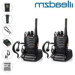 2 x Leazdm LE-88A UHF Two Way Radios Walkie Talkie Set Recha