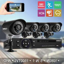 FLOUREON 4CH 1080N AHD DVR Home Outdoor 1500TVL HD 720P 1MP