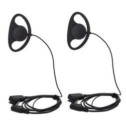 2PCS Ear Hook Earpiece With PTT & Mic For Walkie Talkie Baof