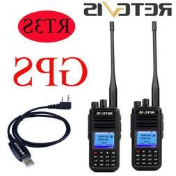 2x Digital DMR GPS Walkie Talkies Retevis RT3S VHF&UHF DCDM