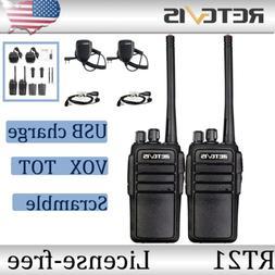 2XRetevis RT21 Walkie Talkie UHF 16CH License-free TOT VOX Squelch 2way Radio US