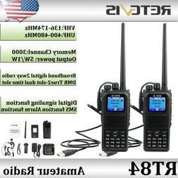 2XDMR Ham Walkie Talkies UHF/VHF Retevis RT84 Digital 3000CH