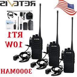 3xRetevis RT1 Walkie Talkies UHF 10W VOX 3000mAh Two Antenna