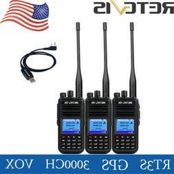 3xRetevis RT3S GPS 2000mAh 3000CH UHF/VHF Walkie Talkies Ala