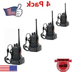 4Pack Walkie Talkie Headset Two Way Radio 2 Long Range Secur