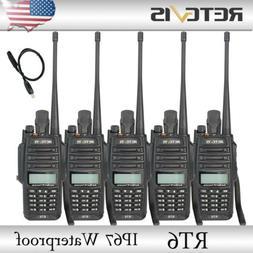 5pcs Retevis RT6 IP67 Waterproof UHF+VHF Walkie Talkies Emer