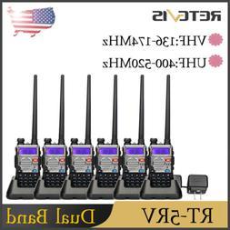 6XRetevis RT-5RV 128CH UHF+VHF 1400mAh Power Save Alarm 5W W