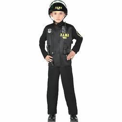 Boys SWAT COP Halloween Costume Helmet Flashlight Walkie Tal