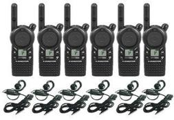 6 Pack of Motorola CLS1410 Walkie Talkie Radios with Headset