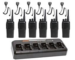 6 Pack of Motorola CP200d UHF Two Way Radios with 6 Speaker