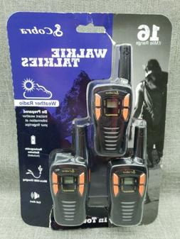 Cobra CXT195 3 pack 16 mile Walkie Talkies Weather Radio Rec