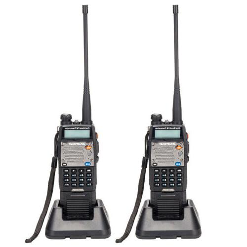 2 x Baofeng VHF UHF Dual Two Way Ham Flashlight Walkie Talkies