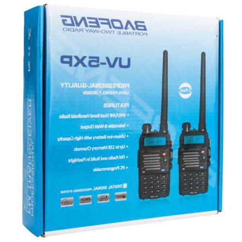 2 Baofeng VHF UHF Two Radio Flashlight Walkie Talkies
