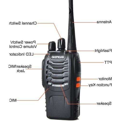 4 x Baofeng Two 400-470MHz Walkie Set with Flashlight
