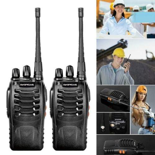 2 xBF-888S Portable UHF VHF Ham Radio+2Earphones+2Batts