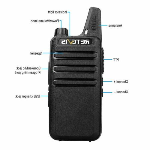 6XRetevis RT22 FRS Walkie Talkies Emergency Alarm