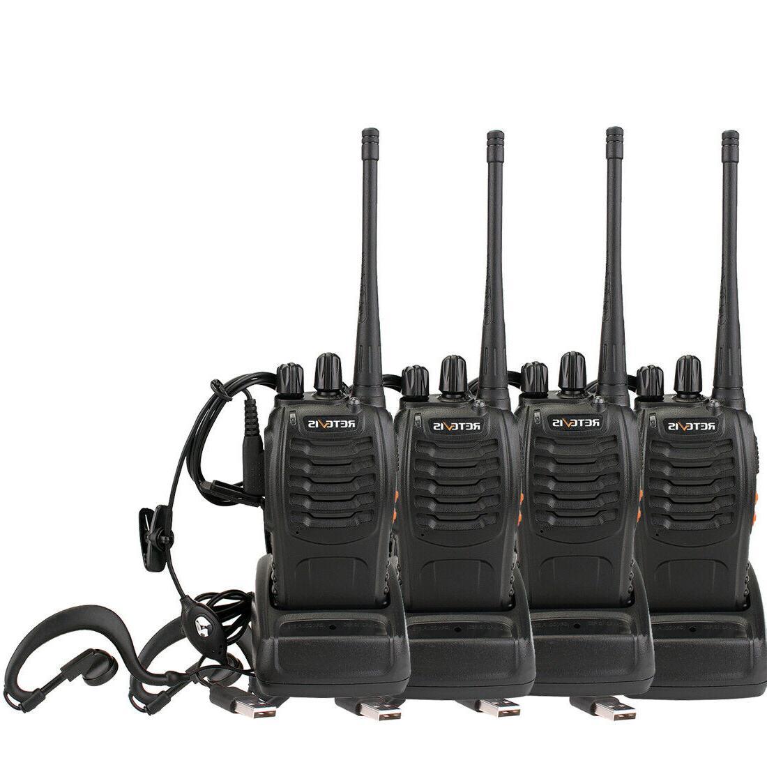 4pack walkie talkies w earpiece two way