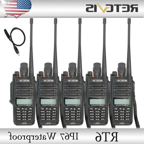 5pcs rt6 ip67 waterproof uhf vhf walkie