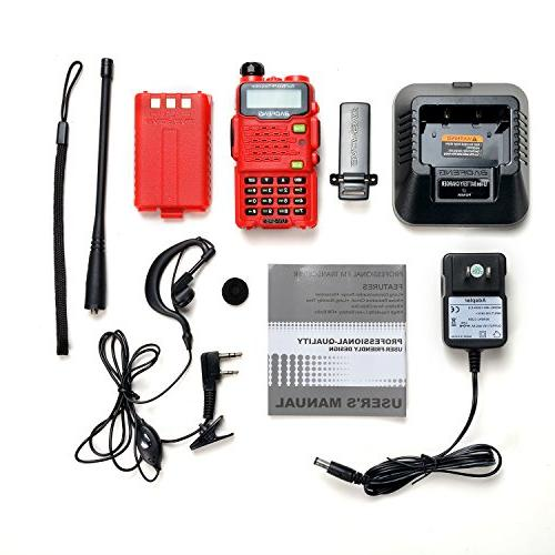 Two Way Radio,Baofeng Talkie UV-5R5 5W Two-Way UHF/VHF 136-174/400-520MHz,65-108MHz Upgraded VOX - Red