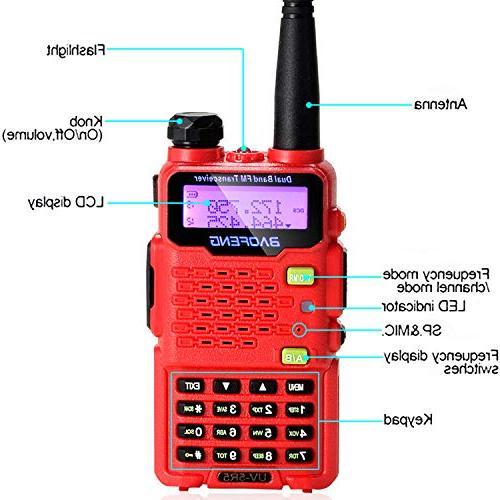 Talkie Two-Way Ham Radio UHF/VHF 136-174/400-520MHz,65-108MHz FM Upgraded VOX - Red