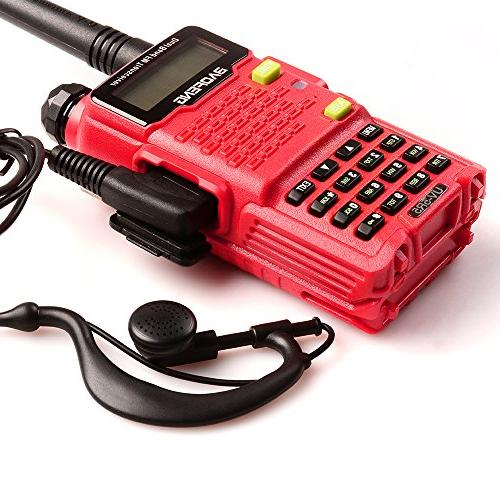 Two Way Talkie UV-5R5 5W UHF/VHF 136-174/400-520MHz,65-108MHz Upgraded Earpiece,Built-in VOX - Red