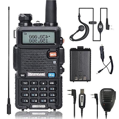 BaoFeng Talkie UV-5R Dual Radio with one 1800mAh UV5R Car Hand Mic. one TIDRADIO NA-771 Antenna