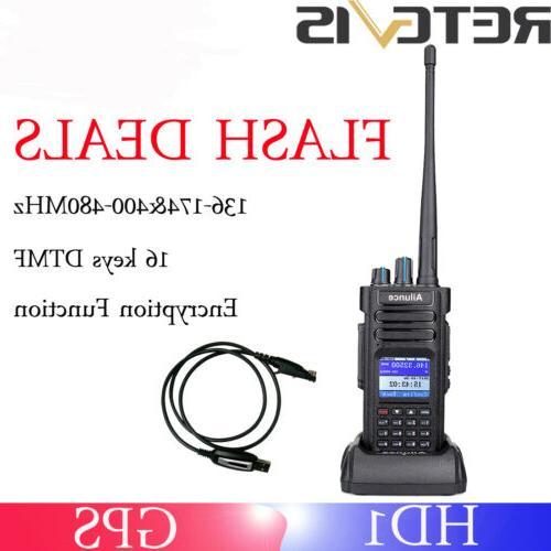 Ailunce HD1GPS Walkie Talkies IP67TOT Dual Band DMR Digital Radio+Program Cable