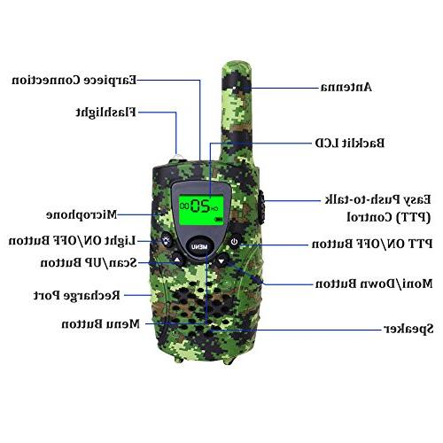 FAYOGOO Talkies, 22-Channel Range Two Way Radios with Flashlight Screen-Best Gifts and for Boys, Camo