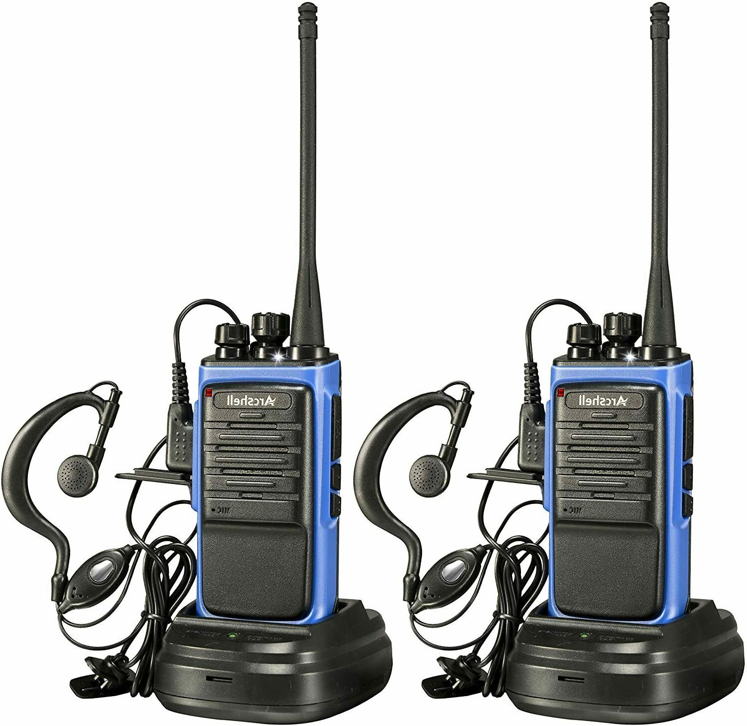 2 Pack Long Range Walkie Talkie Earpiece Two Way Radio Charg