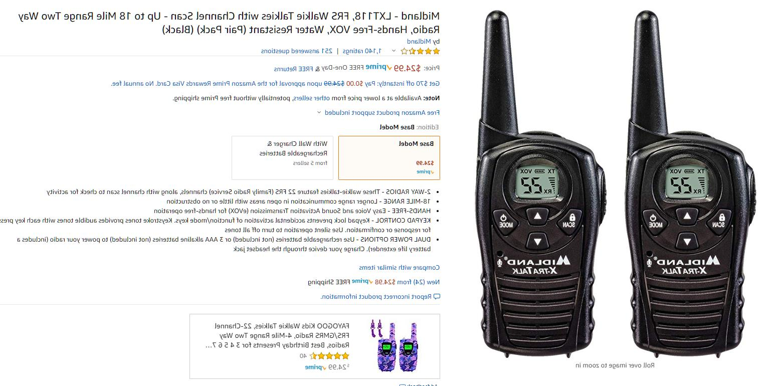 Midland - 22 Channel Two-Way Radio with Up Range VOX,