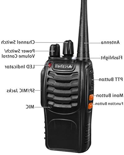 Arcshell Two-Way 6 Pack UHF Walkie Talkies Li-ion Battery and Charger Included