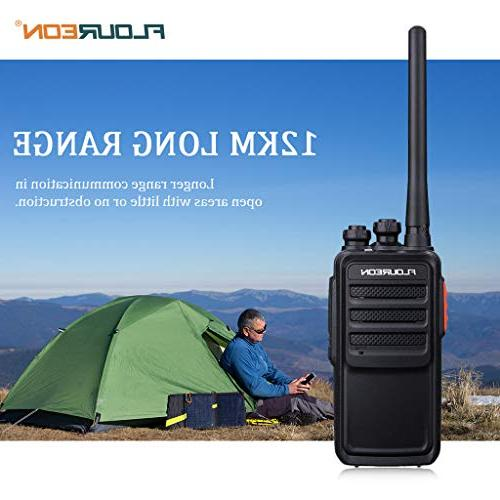 FLOUREON Walkie Packs 7KM Long 400-470MHz Channel Light FM Radio Function