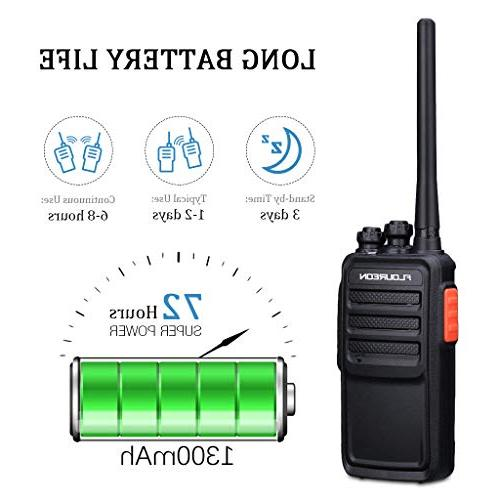 FLOUREON Walkie Packs Radio 400-470MHz Walky Talky 22 Channel Light FM Radio