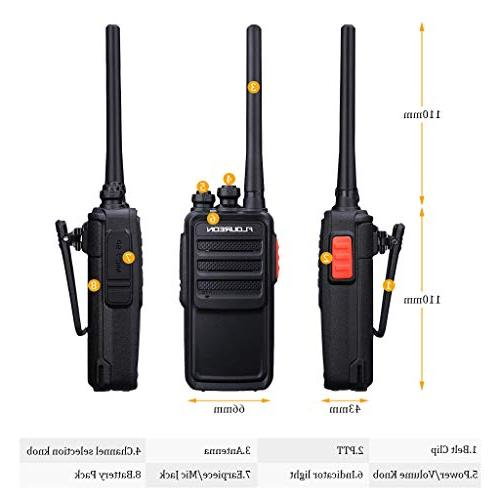 FLOUREON Talkies 2 Packs Rechargeable 7KM Long Range UHF 400-470MHz Talky 22 Channel Handheld Light FM Radio