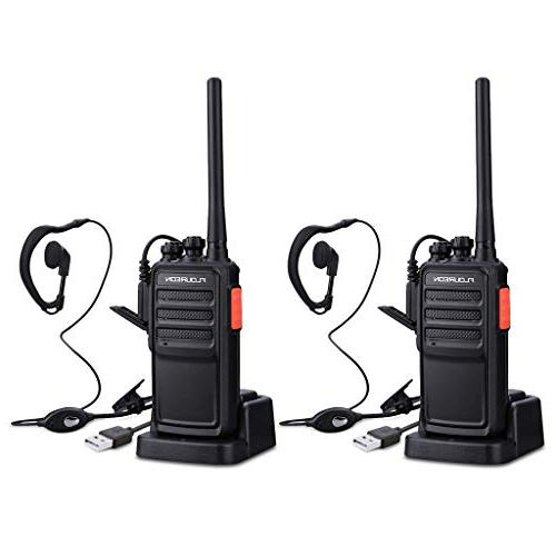 floureon Two Radios 2 Pack Long Range with Earpiece and Battery Charger UHF 400-480MHz 16 Handheld Interphone