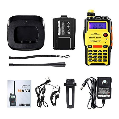Watt 2800mAh Battery FCC VHF 136-174MHz and UHF 400-520MHz Resistant 128 Channels Walkie Talkie with Earpiece Full Kit