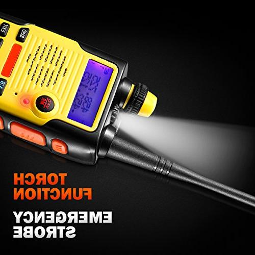 Two 8 Watt Rechargeable Battery Dual VHF 136-174MHz 400-520MHz Long Range Water Resistant Channels Walkie Talkie with Kit