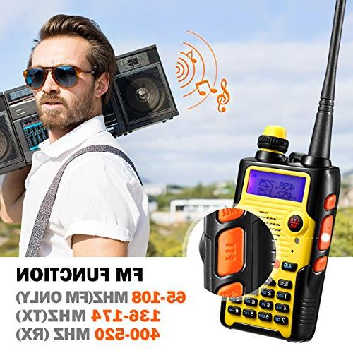 Two Radio Watt Large Battery VHF 136-174MHz 400-520MHz Range Water Resistant Talkie with Full Kit