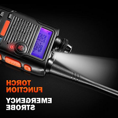 Two Radio 8 Watt 2800mAh Large Battery FCC VHF 136-174MHz and UHF 400-520MHz Long Range Water Resistant Talkie with Earpiece Kit