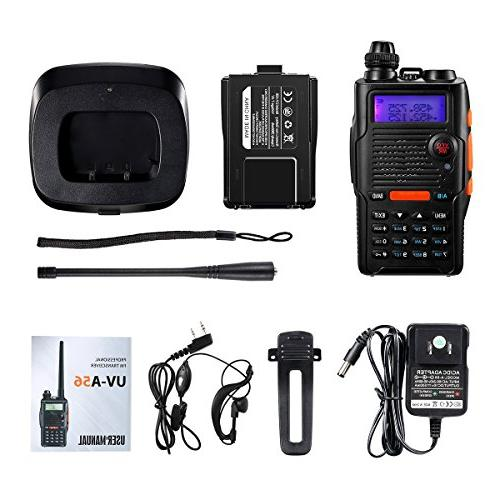 Two Way Radio Watt Rechargeable Large Battery VHF 136-174MHz UHF Resistant Channels Talkie with Kit