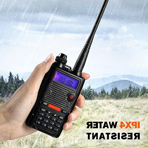 Two Radio VHF 136-174MHz 400-520MHz Resistant 128 Channels Talkie with Earpiece