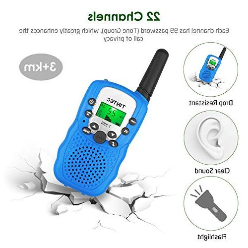 Tintec Walkie Talkies, way Radio Backlit LCD 3 Miles Range for Outdoor Hiking
