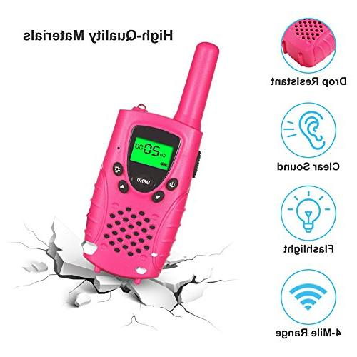 22 Channels Two Radios Miles Kids Walkie Talkies for Girls Toys Pink