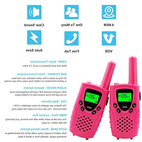 22 Channels FRS/GMRS UHF Miles Mini Kids Walkie Talkies Girls Best Gifts Toys Built Pink