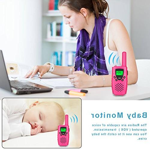 Walkies 22 Channels FRS/GMRS UHF Two Way 4 Miles Handheld Walkie Talkies for Boys Girls Pink