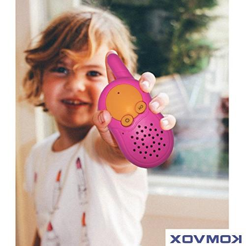 KOMVOX Kids Walkie Pink, with Private Channel, Birthday Gifts 3 5 Old Kids,Electronic Gifts for