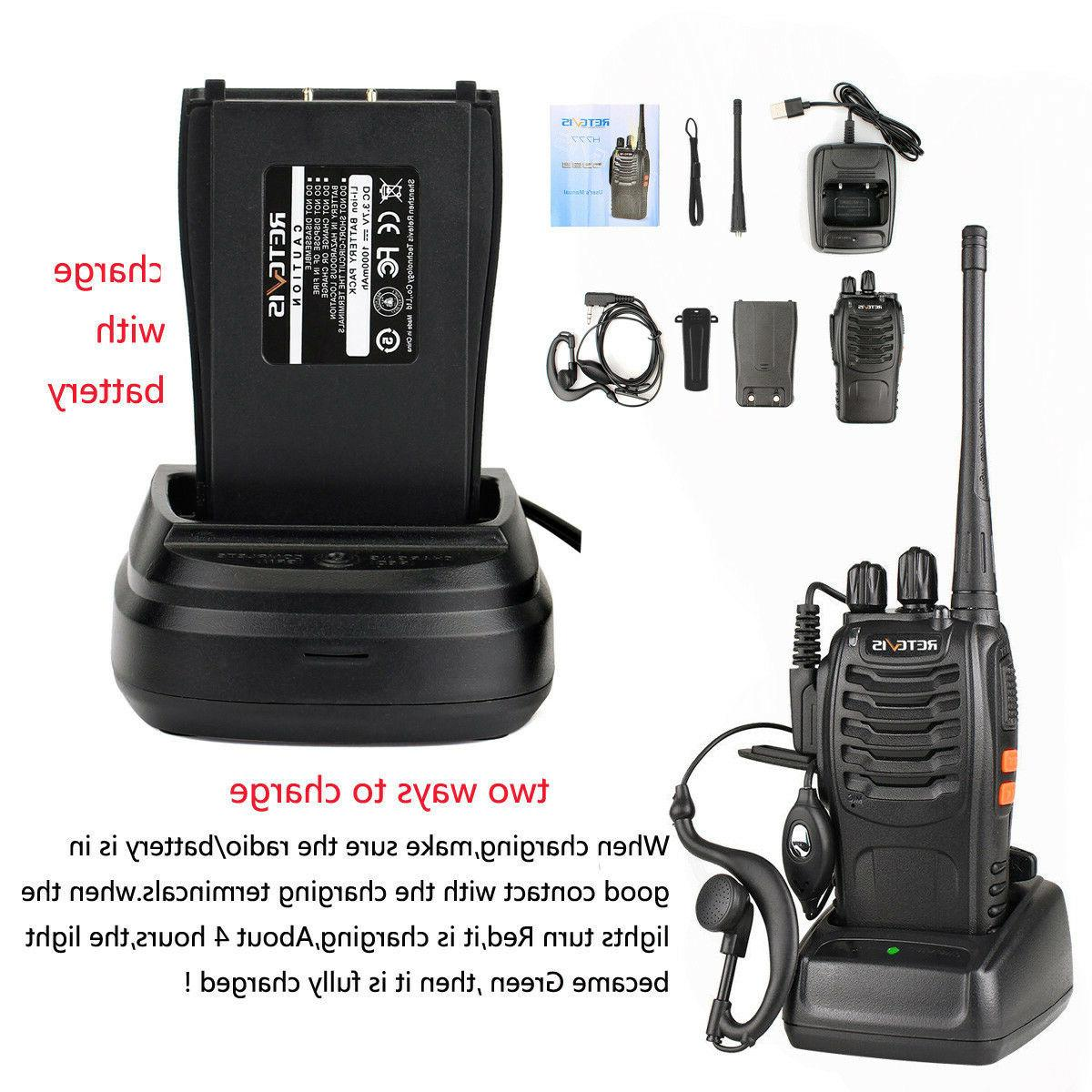 Walkie Talkies UHF 16CH Radio+Earpiece+PTT Speaker Mic